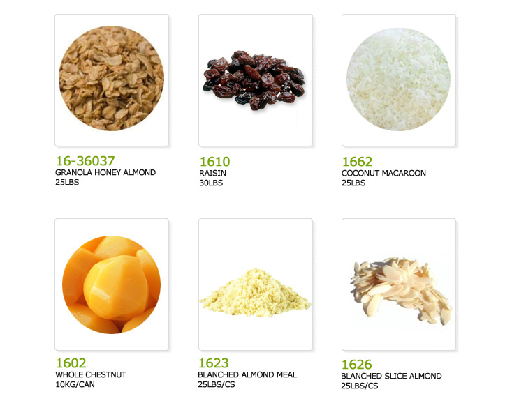 granola honey almond, raisin, coconut macaroon, whole chestnut, blanched almond meal, blanched sliced almond,