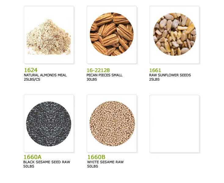 natural almonds meal, pecan pieces small, raw sunflower seeds, black sesame seed raw, white sesame seed raw