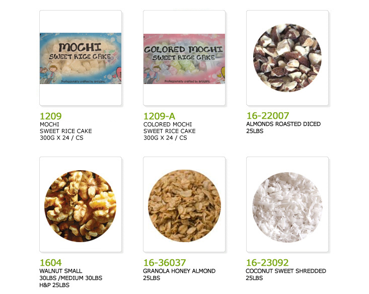 bingsoorice mochi, color bingsoo rice cake color mochi, almonds roasted diced, walnut small, granola honey almond, coconut sweet shredded