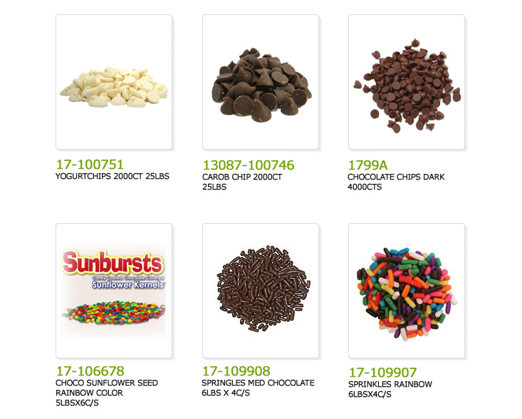 yogurt chips, carob chips, chocolate chips, chocolate sunflower seeds rainbow color, sprinkles medium chocolate, sprinkles rainbow,